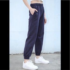 Brandy Melville Navy Blue Rosa Sweatpants